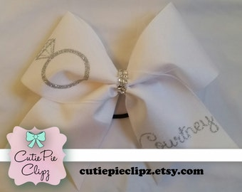 Bride Wedding Cheer Bow w/ Veil and Name