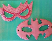 Child's Mask - Batman - Spiderman  - Pink Vinyl - Bat Girl - Spider Girl