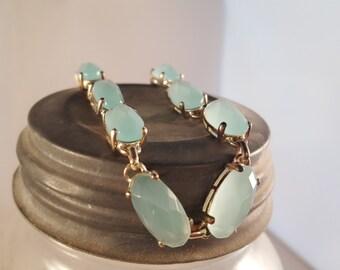 Light blue Lucite Bracelet, Silver Tone