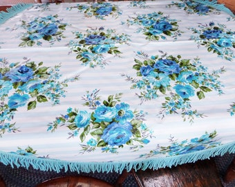 Vintage Flannel Back Vinyl Round Tablecloth Blue White Roses Heavyweight with Fringe