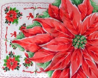 Vintage Christmas Poinsettia Handkerchief 2 Hankies