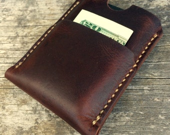 Mens leather wallet, Minimalist wallet, Full grain leather, Made in the USA, Brown leather