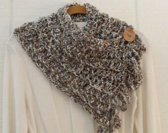 Crochet Button Fringe Scarf Ivory Tan Gray Button Neckwarmer Scarflette Cowl