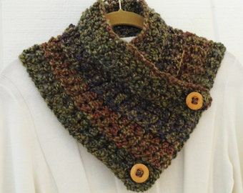Crochet Button Scarf Cowl Olive Purple Green Rust Two Wood Buttons Neckwarmer Scarflette