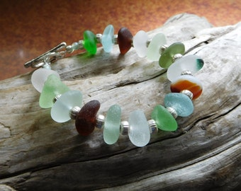Genuine sea glass bracelet.  Beach Glass.  End of day.  Bali silver. Ocean vibe. Hand gathered.