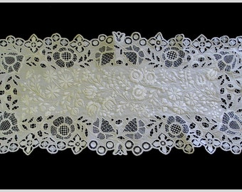 Vintage All White Matyo Embroidered Runner Hungarian Embroidery