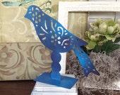 Flat Standing Metal Bird - Blue Filigree Pattern