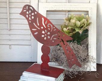 Filigree Pattern Metal Bird - Red Standing Table Top Bird