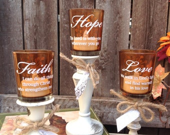Love-Hope-Faith Votive Cups on Pedestals - Set of 3 Amber Glass Votives / White Candlesticks