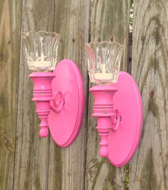 Pink Wall Sconce Candle Holder : 2 Vintage Wall Sconce w/ Votive Cups / Pink Wall Decor