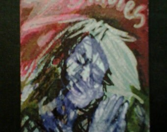 clearance sale aceo SWEAR On A STACK Of ZOMBIES original kimartist man hand brut graffiti grafitti scary spooky green red gray black white