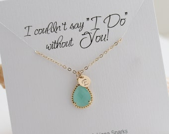 Gold & Mint Bridesmaid Necklace, Mint Opal Necklace, Personalized Bridesmaid Necklace, Mint Bridesmaid Necklace,Bridesmaid Gift Jewelry