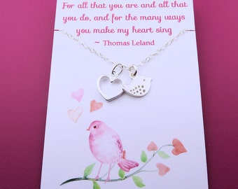 Silver Bird and Heart Necklace - sterling silver - message card - best friend gift - sparrow necklace