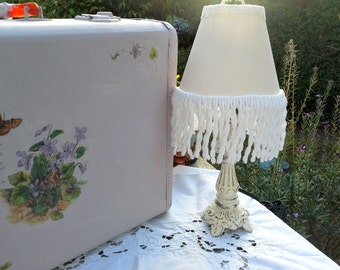 Table Lamp - Up scaled ornate vintage lamp for your nursery, childrens room or shabby chic office - hand painted off white fringed shade
