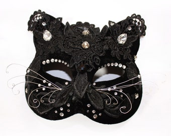 Halloween Cat Mask, Velvet Masquerade Mask, Gothic Headpiece Lace Accessories, Catsuit Mask