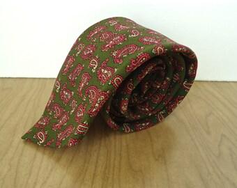 Vintage Pink Paisley Wool Challis Tie / men's Reedcrest olive green with pastel pattern necktie