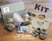 Crochet Kit / DIY Plus Instant download Pattern to Make BEARY Cute Baby SET Bib Booties and Rattle