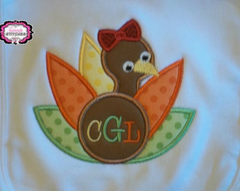 Personalized Boutique Girly Turkey T-shirt or Bodysuit with Name