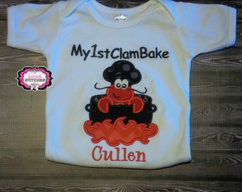 First Clam Bake Bodysuit or Tshirt with Name