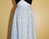 Vtg 70s Soft Beige & Teal PRAIRIE PAISLEY Full Skirt with DITZY Floral Print, Small