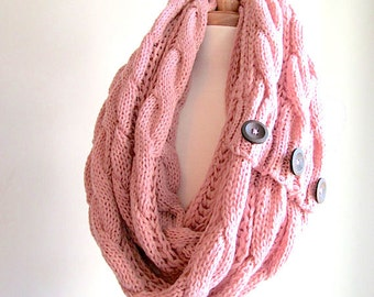 Infinity Circle Loop Scarf Braided Cable Knit Neckwarmer Rose Pink Scarves with Buttons Women Girls Accessories