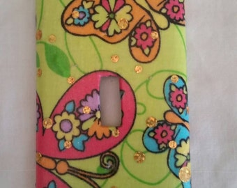 Bright Butterflies Fabric Covered Light Switch Cover Plate