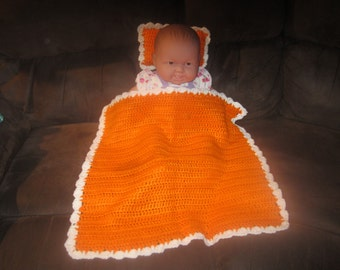 Orange and  White Baby Doll Blanket and Pillow Set