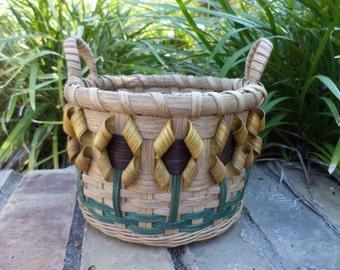 Sunflower Lil' Bucket Basket Handwoven Basket