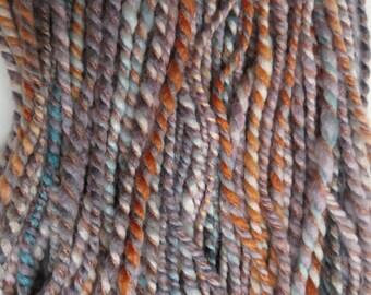 Handspun Yarn, Art Yarn, 3 Ply, Barberpole, Bulky, Wool, Knit, Felt, Doll Hair, Silky Sands