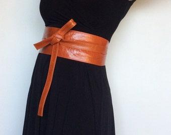 Wrap Leather Obi Belt, Unique Wide Belts, Women Orange Tie Belt,  Fashion Wraparounds Belt, Stylish Belt