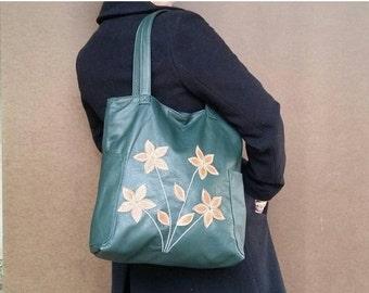 SALE Leather tote bag / everyday shoulder purse/ shopper purse/ decorative flowers on front