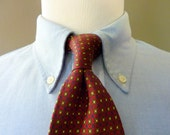 Vintage POLO by Ralph Lauren 100% Silk Dark Autumnal Foulard Patterned Trad / Ivy League Neck Tie.  Made in USA.