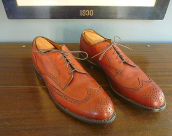 "Vintage Allen Edmonds ""AUBURN"" Brown Leather Wingtip Wing Tip Oxfords Shoes 13 B.  Made in USA."