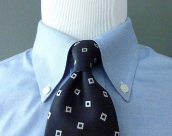 Vintage POLO by Ralph Lauren 100% Silk Cascading Silver Squares on a Black Background Trad / Ivy League Neck Tie.  Handmade in Italy.