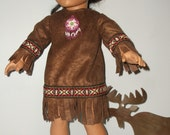 18 inch  American Girl Doll Native American doll dress perfect for Saige or Kaya by Project Funway on Etsy