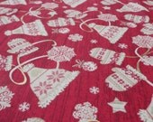 Fair Isle Winter Clothing Print 100% Cotton Christmas Novelty Fabric - Red, Cream, Gold - Wooden Effect, with Stars and Baubles