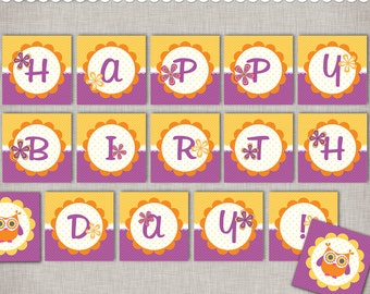 Owl Birthday Banner - Instant Download Happy Birthday in orange and purple - printable PDF documents