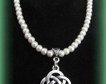 Silver Celtic Knot & Swarovski Pearl Necklace