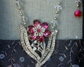 Assemblage Necklace with Vintage Rhinestone Brooch and Vintage Beads