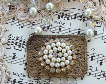 Assemblage Necklace with Vintage Brooch, Vintage Crystals and Glass Pearls, Vintage Brass Finding