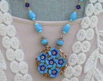 Assemblage Necklace with Signed Avon Brooch and Vintage Glass Beads