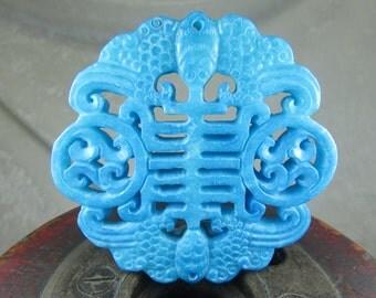 Carved jade teal aqua focal openwork pendant