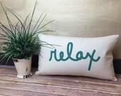 Summer Pillow, Relax Pillow, Text Pillow, Word Pillow, Relaxation Gift, Spa Gifts, Spa Decor,Oblong Pillow, Long Pillow