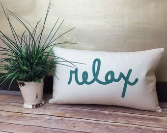 summer pillow relax pillow text pillow word pillow relaxation gift spa - Spa Decor