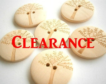 50 Tree Wood Buttons 20mm Natural Wood Buttons ( 50 pieces)