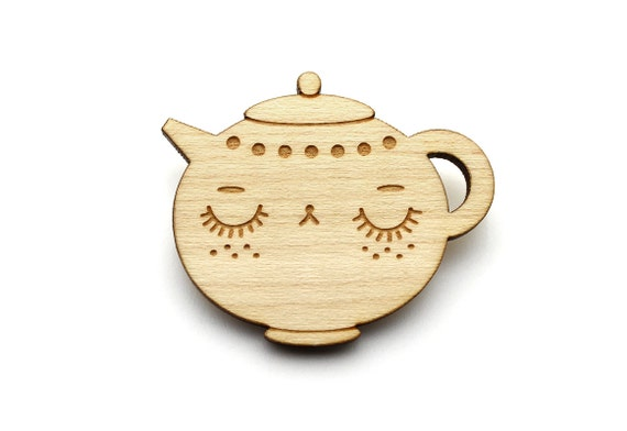 Teapot brooch - cute teapot pin - tea character jewelry - teatime jewellery - lasercut maple wood - graphic minimalist poetic romantic