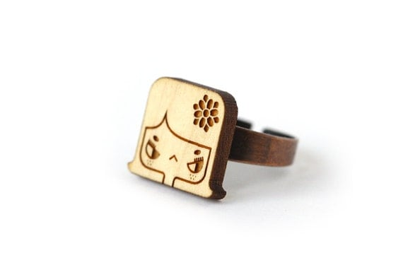 Lily ring - lasercut wood ring - cute wooden character ring - girl with flower in the hair - graphic jewelry - lasercutting