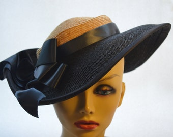 """Derby Hat / Wedding Hat / Church Hat / Easter Hat Black and Natural """"Andie"""""""