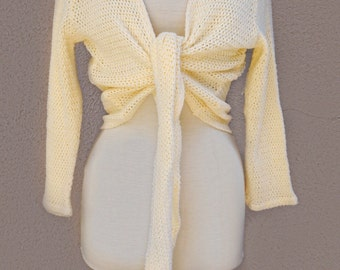 80s, 90s Light Yellow Crochet Sweater, Cropped Sweater with Tie Front, Cropped Knit Sweater, Fall Sweater, Yellow Sweater, Festival