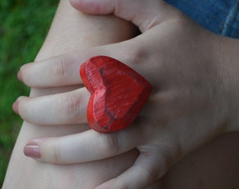 XL Red Heart Ring